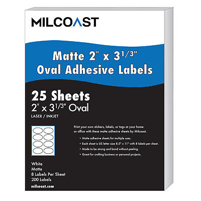 Milcoast Matte Adhesive 2 X 3-13 Oval Labels - 200 Labels 25 Sheets