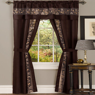Window in a Bag Chocolate Floral Window Curtain Set with Panel and Valance Floral Window Treatment