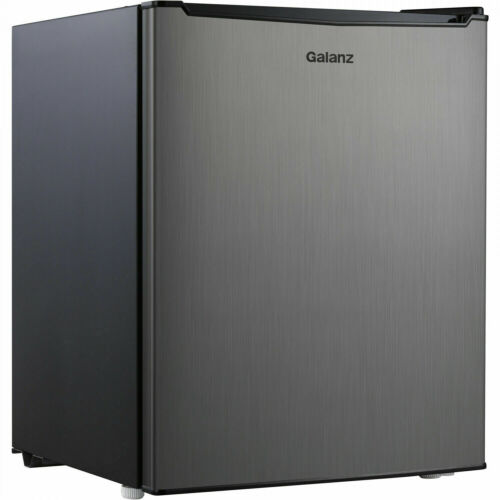 Galanz 2.7 Cu Ft Single Door Mini Fridge Freezer Compact Small Stainless Steel