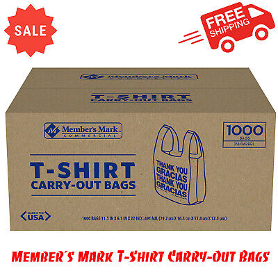 Members Mark T-shirt Carry-out Bags 1000 Ct. Thank You Message Easy-to-tote