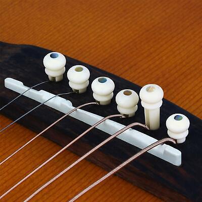 Donner 6PCS Acoustic Guitar Cattle Bone Bridge Pins Guitar DIY Replacement Parts