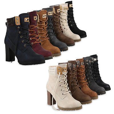 Damen Schnürstiefeletten Worker Boots Stiefeletten Block Absatz 812259 Schuhe