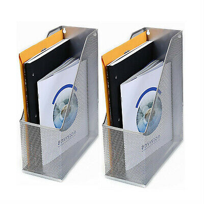 2pcs Pro Space Wall Mount File Holder Organizer Mesh Magazine Rack Storagesilve