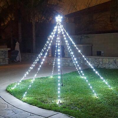 Waterfall Christmas Tree Lights with Star Indoor Outdoor String Cone Tree Curtai ()