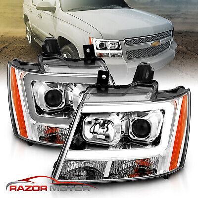 2007-2014 Chevy Suburban/Tahoe/Avalanche LED Light Bar Projector Headlights Pair