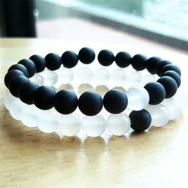 2pcs 8mm Natural Black Onyx Beads Handmade Bracelet 7.5inch Chakra Lucky Healing
