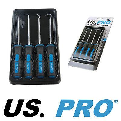 US Pro Tools by BERGEN 4pc Short Pick and Hook Set Mini Hook Pick Set Pro 5034