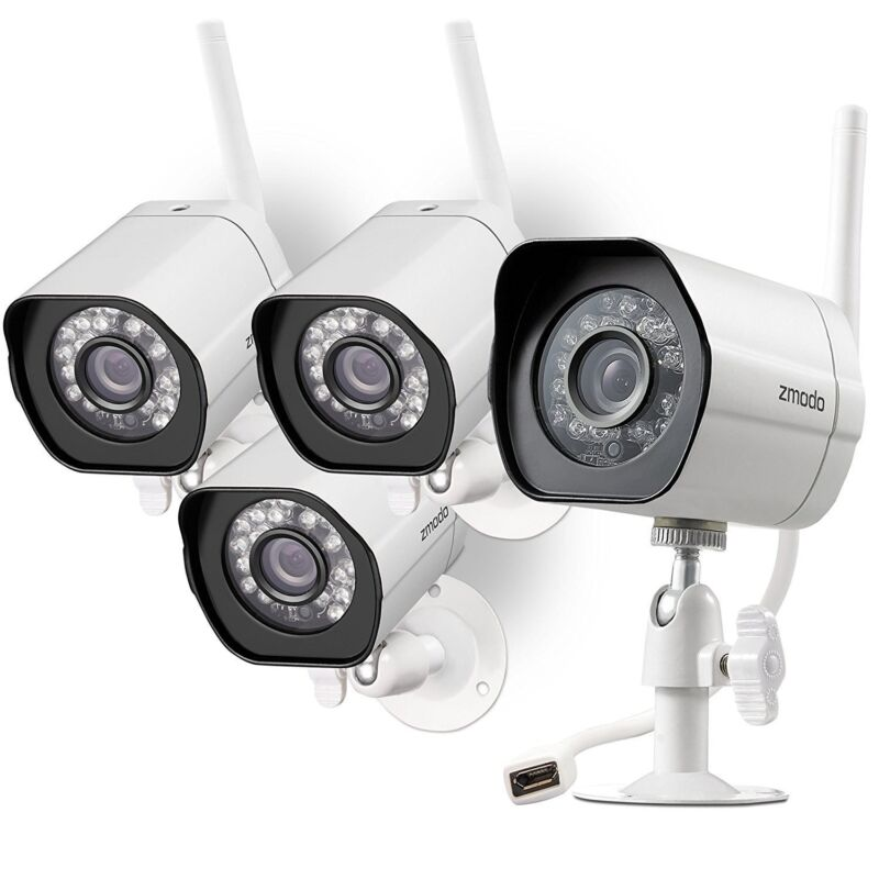 Zmodo Wireless Home Security Camera (4 pack) 720 Smart IP HD IR Cut WiFi Cameras