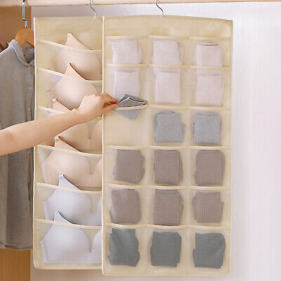 30 Pockets Mesh Hanging Storage Bag Bra Sock Underwear Organizer Wardrobe Hanger