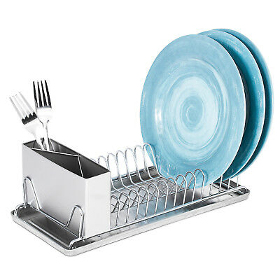 Compact Chrome Dish Drainer Rack With Stainless Steel Utensil Holder / Tray (Stainless Steel Dish Rack With Drainer Tray)