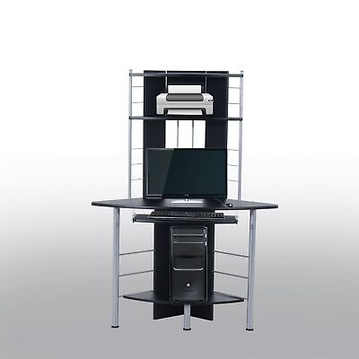 Computer Desk Workstation Office Home PC Pull Out Tray Black
