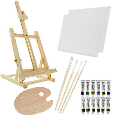 US Art Supply 21-Piece Wood Studio Table Easel & Paint Box S