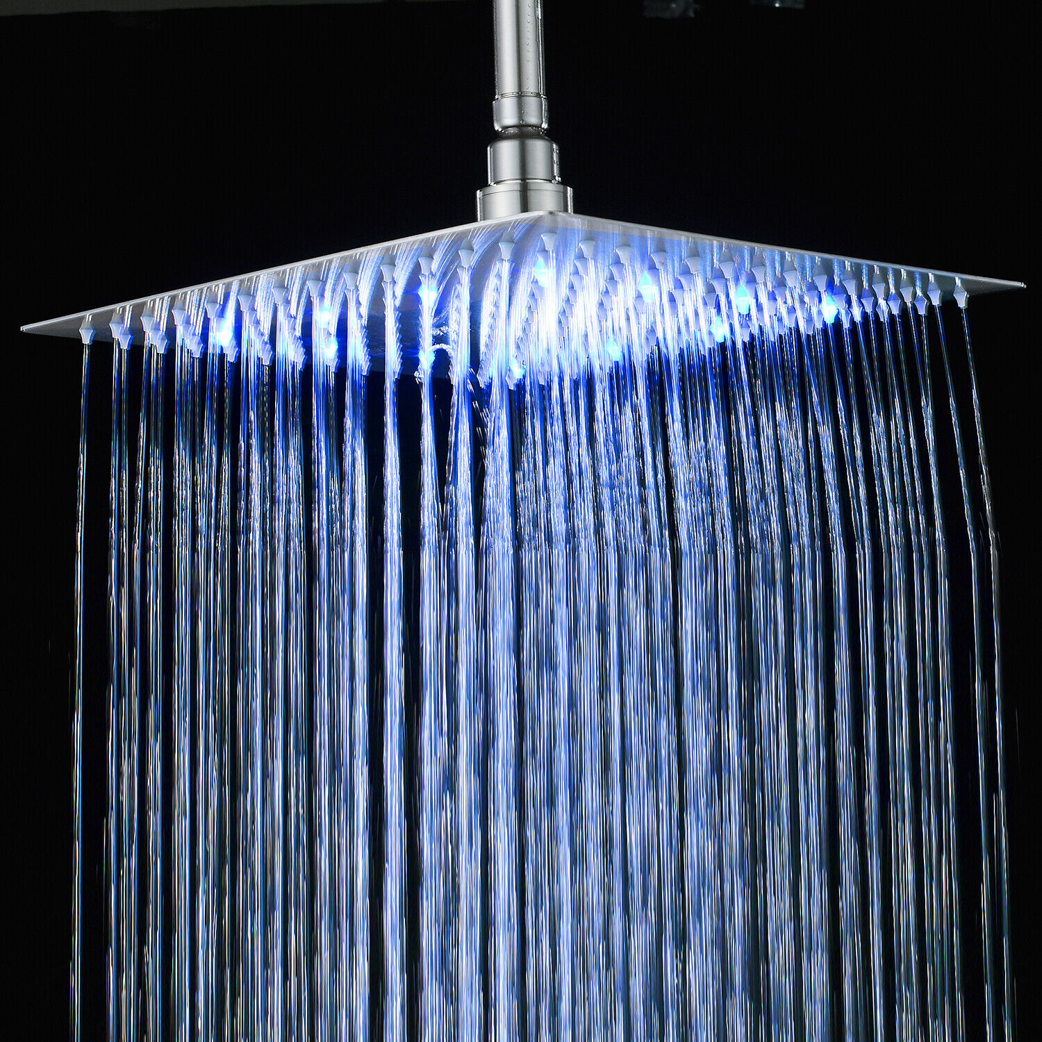 Details About Bathroom 8 Inch Led Rain Shower Head Brushed Nickel Square Top Sprayer