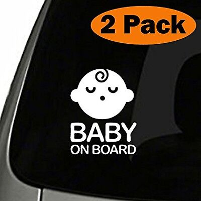 (Set of 2) Boy Baby on Board Sticker Decal Safety Caution Sign for Car Window