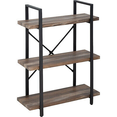 3-Tier Solid wood bookcase industrial Rustic Vintage Open Storage Bookshelf With Bookcases & Shelving