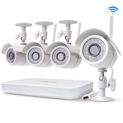 Zmodo 1080p 8CH HDMI NVR 4 720p Wireless Camera Video Home Security System No HD