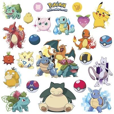 POKEMON ICONIC 24 Wall Decals Room Decorations Pikachu Pokeball Decor - Pokemon Wall Decor