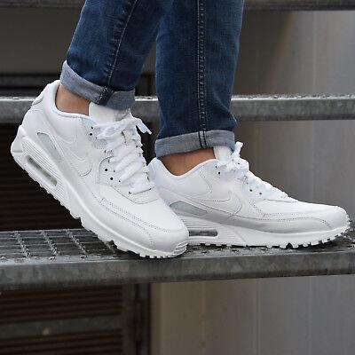 Nike Air Max 90 Leather Schuhe Turnschuhe Sneaker Herren Leder 302519 113 Weiß