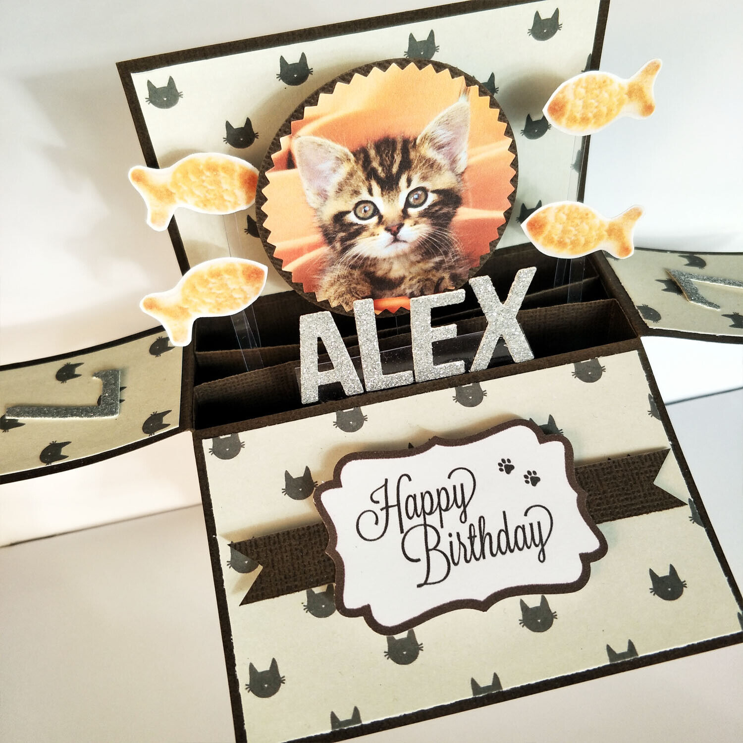 Handmade Name & Age Personalized birthday card pet birthday card cat kitten card - Cat in orange background