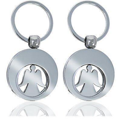 2 Schlüsselanhänger Schutzengel Engel mit herausnehmbarem Chip für Einkaufswagen