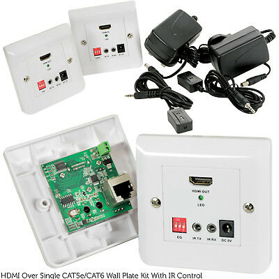 HDMI & IR Over Cat5e/Cat6 Cable Extender Wall Face Plate Balun -50m Full HD & 3D Balun Wall Plate