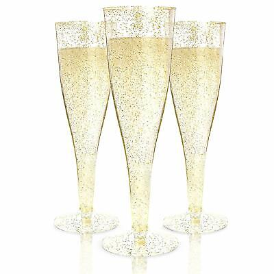 100 Count Wedding Plastic Wine Clear Champagne Flutes Disposable Glasses Cups US
