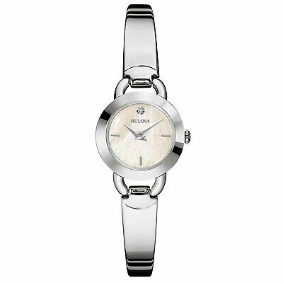 Bulova Women's Quartz Diamond Accent Mother of Pearl Dial 22mm Watch 96P154
