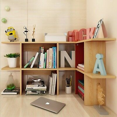 Wood Desktop Shelf Desk Storage Organizer Table Bookshelf Bookcase Office Shelve