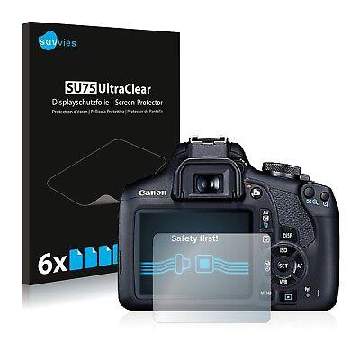 6x Displayschutzfolie für Canon EOS 2000D Schutzfolie Klar Folie Displayfolie