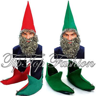 Neu Gnome Elfen Rot,Grün Dawrf Hut Mit Bart,Rot Grün Schuhe Modisches Kostüm-Set (Rot Elfen Schuhe)