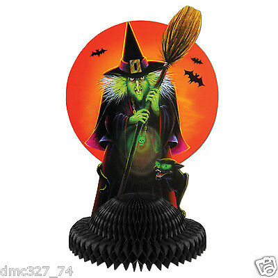 HALLOWEEN Party Decoration Beistle Retro Styled WITCH Harvest MOON CENTERPIECE