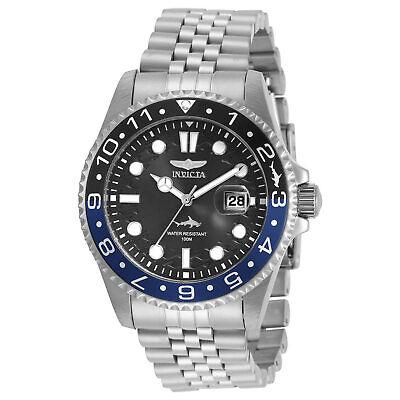 Invicta Men's Watch Pro Diver Black and Blue Bezel Silver Tone Bracelet -
