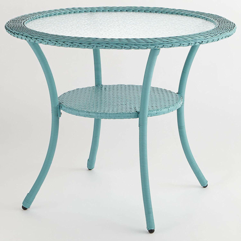"""Garden Furniture - Wicker Bistro Table Outdoor Garden Furniture Patio Deck Steel Frame 36"""" Round"""
