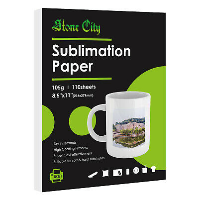 110 Sheets 105g Sublimation Ink Inkjet Heat Transfer Paper 8.5x11 Inch Stonecity