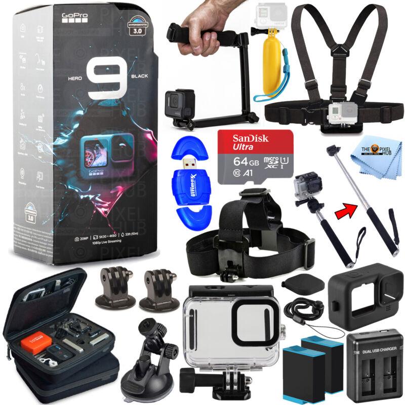 GoPro HERO9 Waterproof 5K Camcorder + EXT BATT + 64GB + Underwater Case Bundle