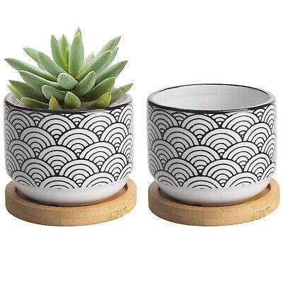 MyGift 3 Inch Black and White Japanese Wave Style Ceramic Po