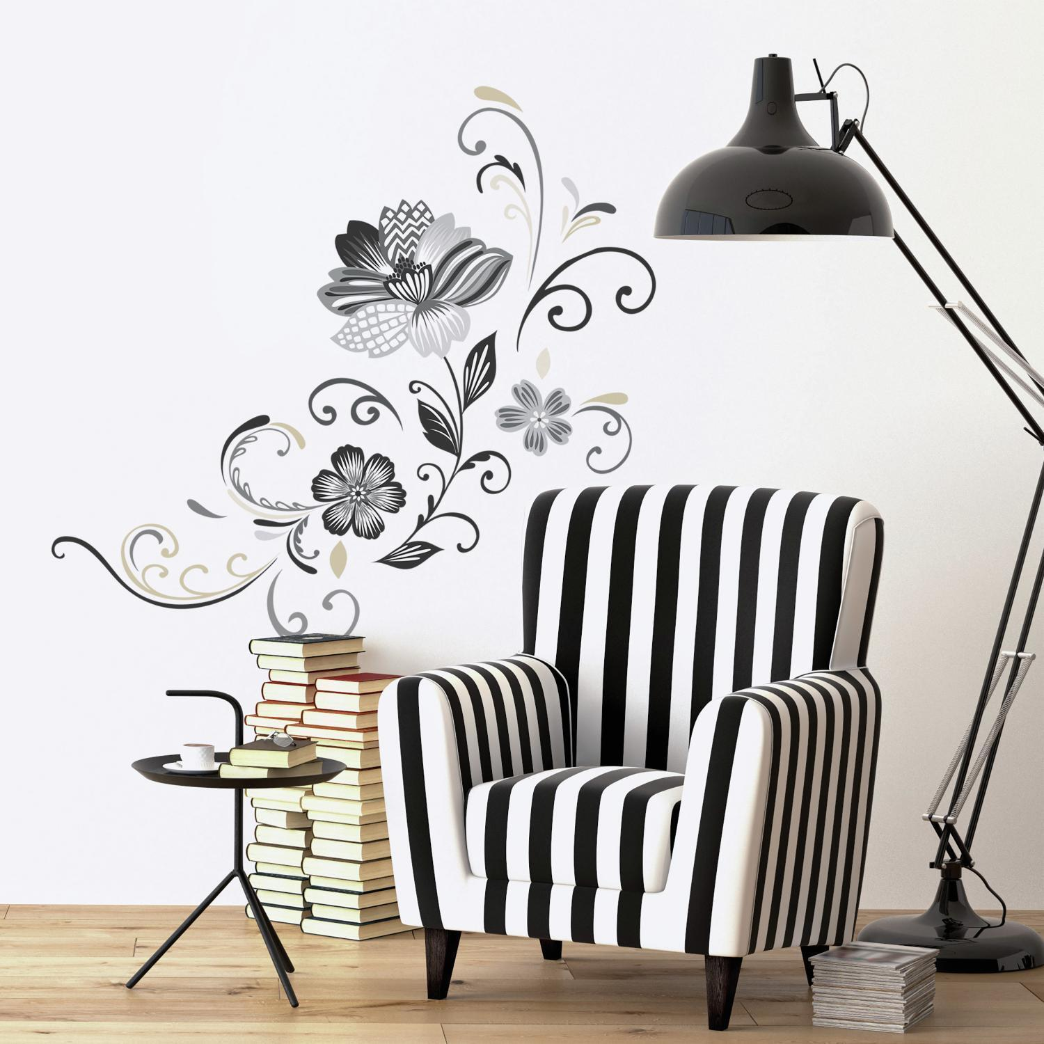 RoomMates RMK2783GM Black and White Flower Scroll Peel and S