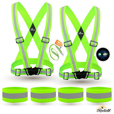 2X Reflective Strap Vest Running Gear + 4 Arm Bands for Running,walking, Cycling