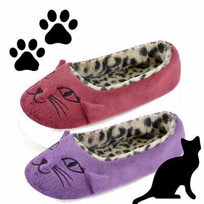Womens Cat  Slip On Ballet House Shoes Ballerina Slippers  Ladies Girls Size 4-8