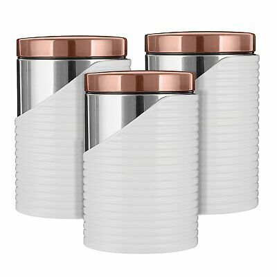 Kitchen Accessories Set - TOWER Rose Gold WHITE LINEAR Set of 3...