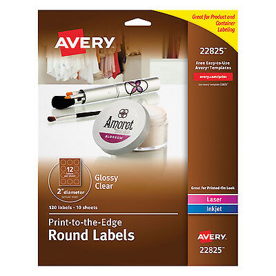 Avery Round Print-to-the-edge Labels 2 Dia Glossy Clear 120pack 22825