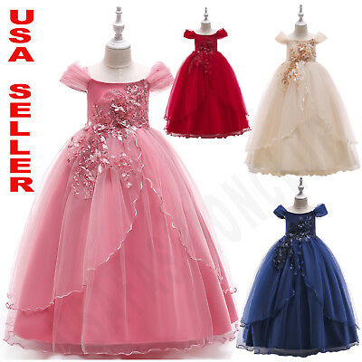 Long Dress Girl (Flower Girl Tulle Birthday Wedding Princess Pageant Party Kid Formal Long)
