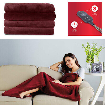 Sunbeam Fleece Heated Electric Throw Blanket With Controller 3 Warming -
