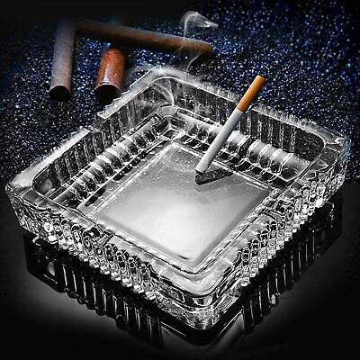 Ashtray, Large Glass Ashtray For Cigarette Cigar, clear Crystal Ash Trays 7x7inch