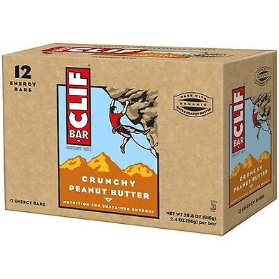 CLIF Bar Crunchy Peanut Butter Energy Bars 2.4 oz 12 co... (NEW - FREE SHIPPING)