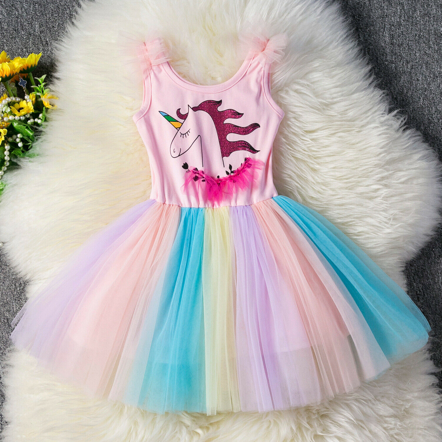 2019 Kids Girls Sequin Unicorn Cartoon Cosplay Costume Party Dress Gift ZG9