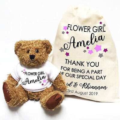 Wedding Teddy Bear Gift | Personalised | Flower Girl, Bridesmaid Little Stars ()