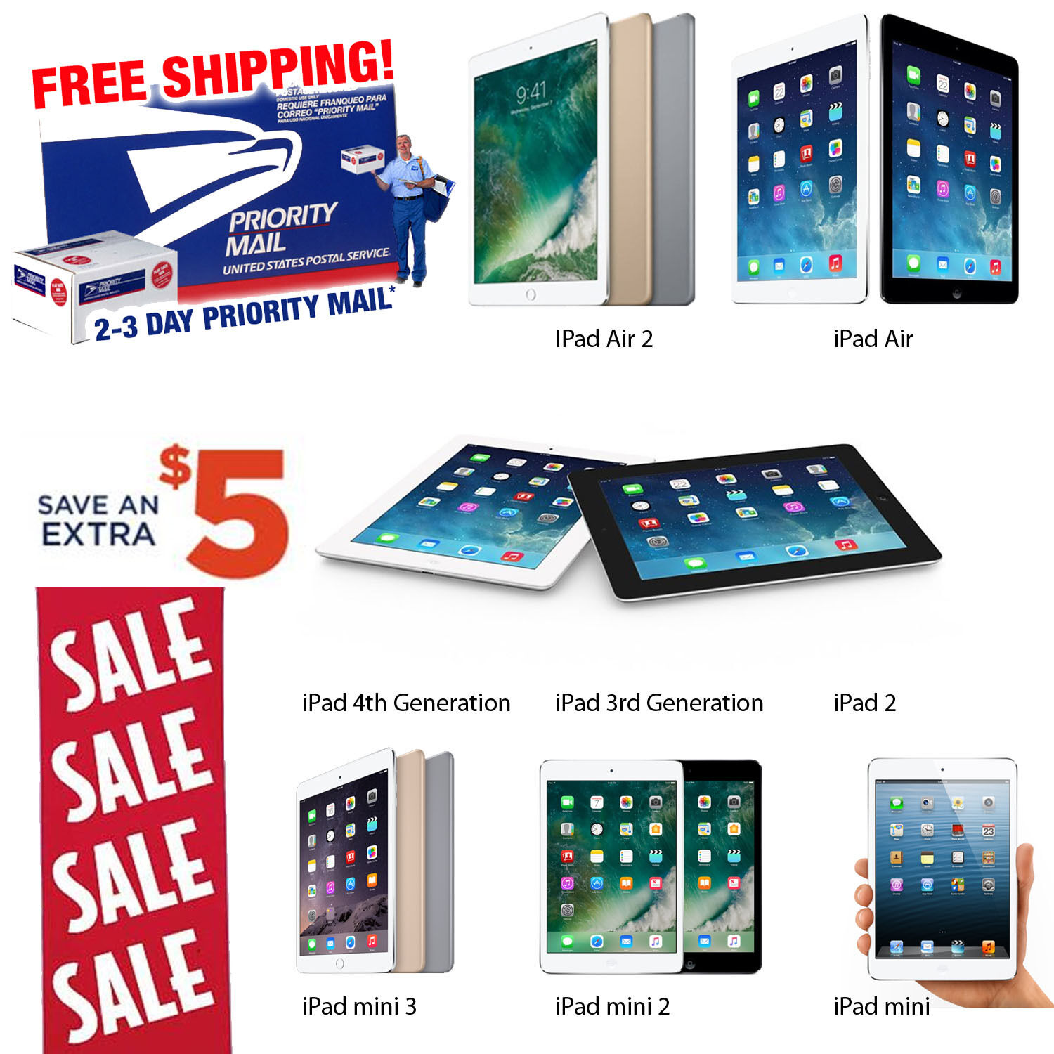 New Promo! iPad Air, mini, 2, 3 or 4th Gen 16GB 32GB 64GB 128GB Pro-Refurb WiFi