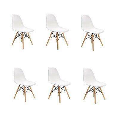 6x sedie da pranzo bianche sedie Eiffel con gambe in legno di faggio