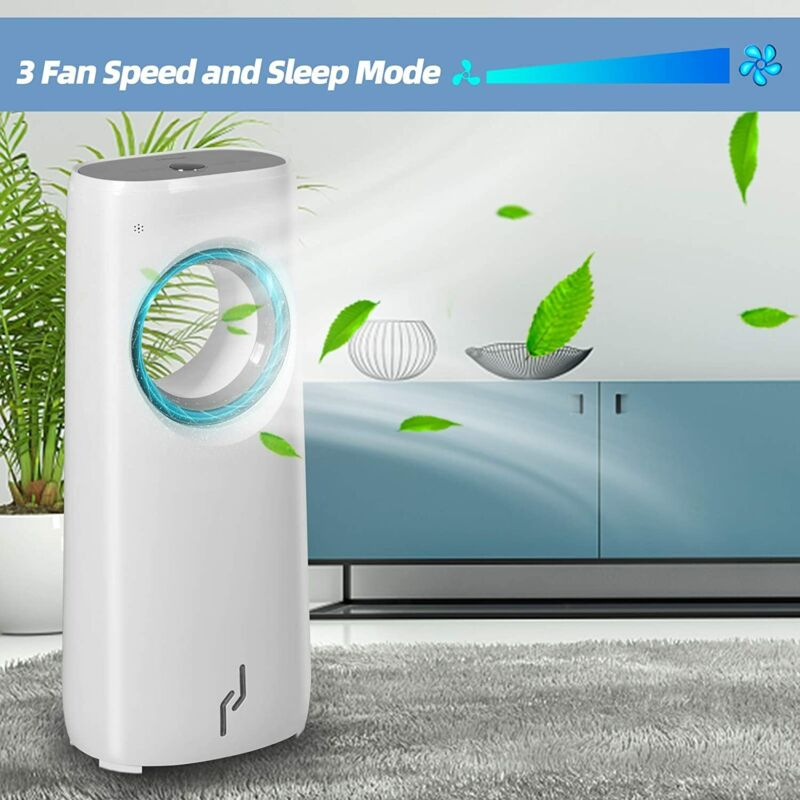 Evaporative Air Cooler Bladeless Fan Portable Fan with Remote Control and LED